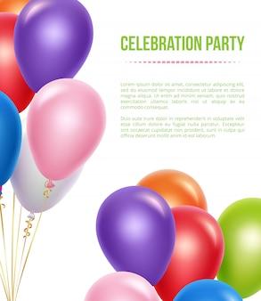 Modello di pubblicità con palloncini. palloncini volanti colorati trasparenti dell'elio per il fondo della festa di compleanno di sorpresa