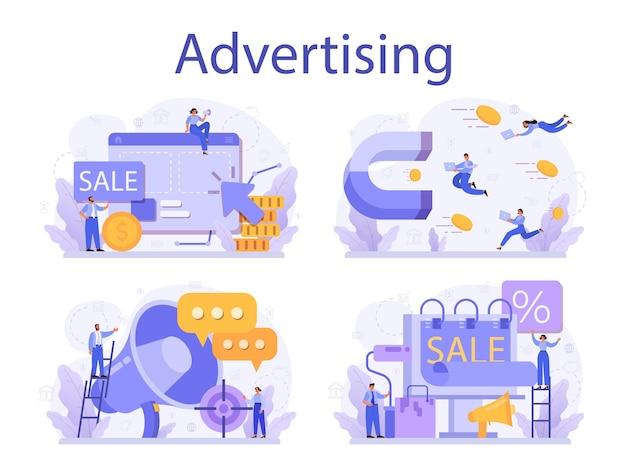 Insieme di concetto di pubblicità