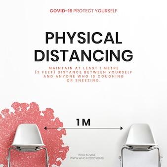 Consigli sul distanziamento fisico da parte dell'annuncio sociale vettoriale dell'oms