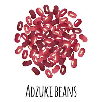 Fagioli adzuki per la progettazione, l'etichetta e l'imballaggio del mercato agricolo del modello. super alimento biologico con proteine energetiche naturali.