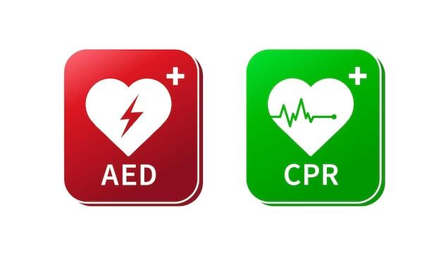 Segno del defibrillatore di emergenza aed e cpr