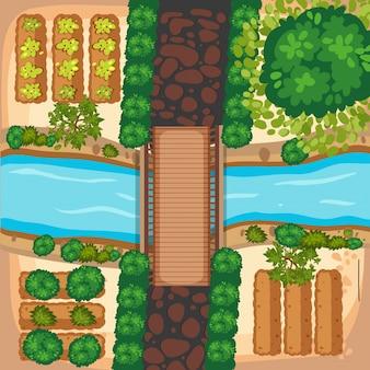 Vista aerea dell'orto e del fiume