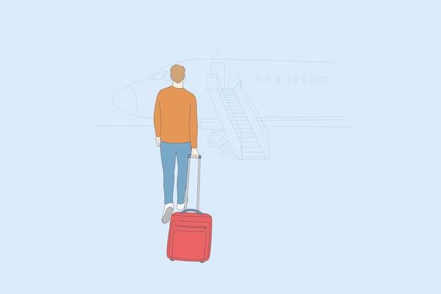 Aerophobia e viaggio in aereo concetto