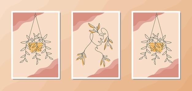 Poster estetico boho wall art di un bel ritratto di donna con forme floreali in stile line art