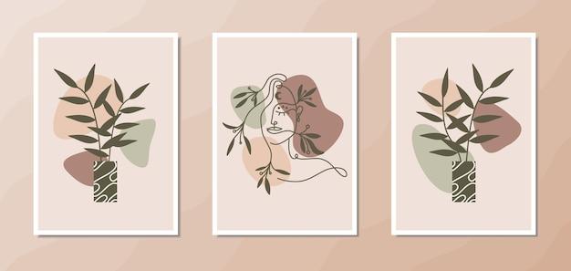 Poster estetico boho wall art con ritratto di donna elegante line art forme organiche e floreali