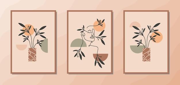 Poster estetici di arte della parete boho con elegante ritratto di donna al tratto e decorazione di piante