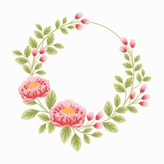 Elemento di corona di fiori botanici estetici per la decorazione di inviti di nozze