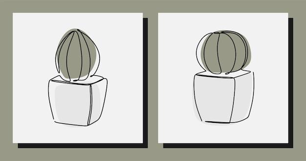 Pianta di cactus estetica una linea continua arte premium vettoriale