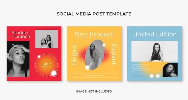 Modello di post instagram per social media di moda estetica