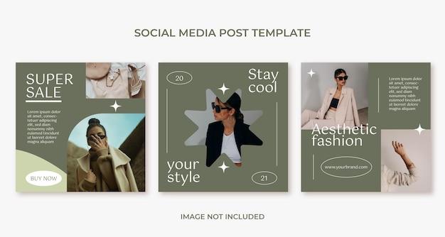Modello di post instagram moda minimal estetico