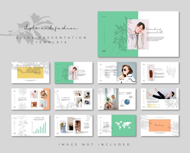 Modello di presentazione di diapositive minime di moda piatta ombra estetica