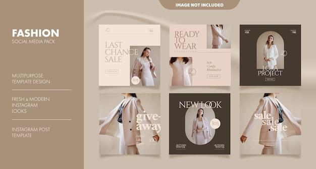 Modello di post di feed di social media estetico per il business della moda