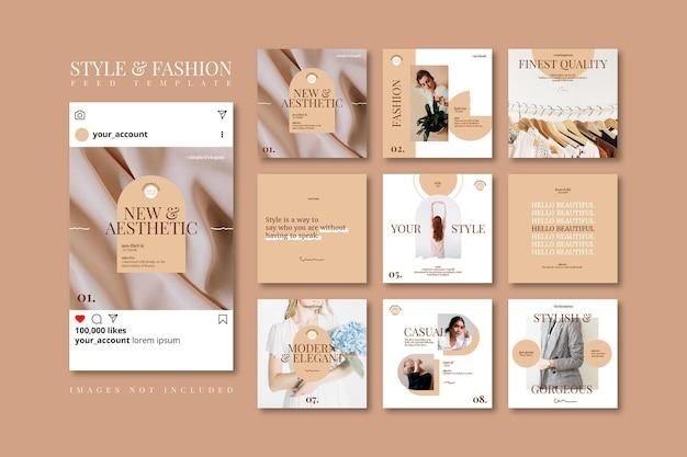 Modello di feed di social media di vendita di moda beige doodle primavera estetica