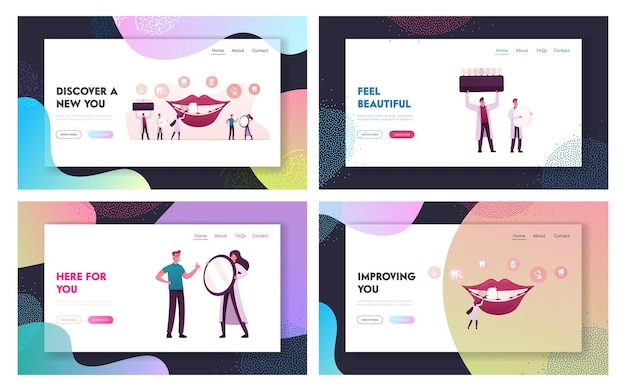 Set di modelli di pagina di destinazione del servizio di stomatologia estetica.
