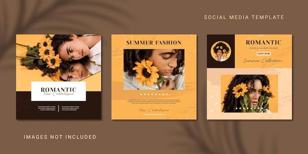 Modello di social media post instagram post collezione moda estiva estetica