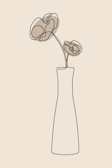 Vaso estetico fiore botanico oneline linea continua arte
