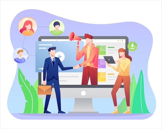 Illustrazione di marketing di affiliazione, promozione del prodotto nei social media.