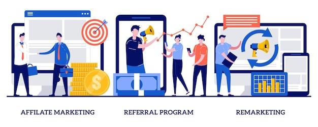 Marketing di affiliazione, programma di riferimento, concetto di remarketing con persone minuscole. insieme dell'illustrazione di vettore di strategia di promozione di internet. gestione delle vendite online, pubblicità mirata, fidelizzazione.