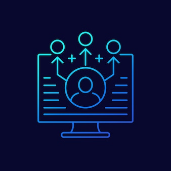 Marketing di affiliazione, icona della linea di riferimento, vettore