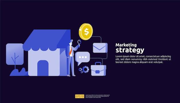 Concetto di strategia di marketing di social media online di affiliazione. riferisci a un amico che fa pubblicità all'illustrazione dell'insegna di vettore di strategia di promozione del contenuto mobile digitale.