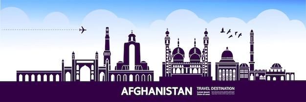 Grande illustrazione della destinazione di viaggio dell'afghanistan.