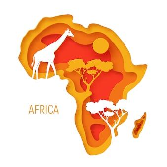 Africa. la carta decorativa 3d ha tagliato la mappa del continente africano con le siluette degli animali selvatici.