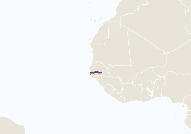 Africa con mappa gambia evidenziata. illustrazione di vettore.