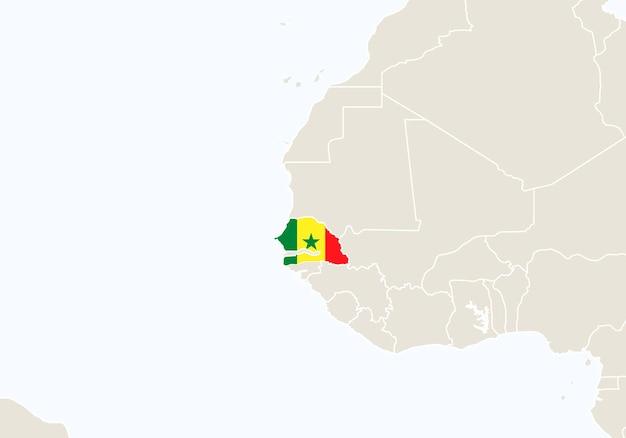 Africa con mappa del senegal evidenziata. illustrazione di vettore.