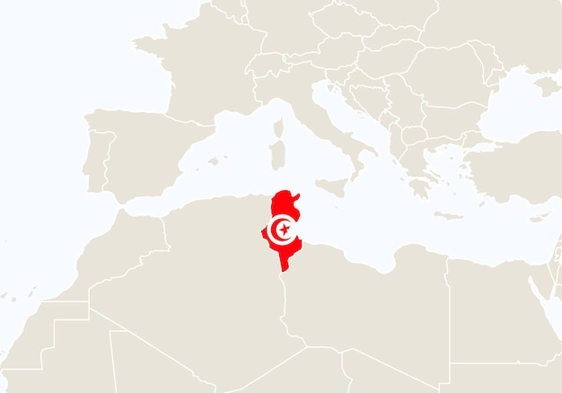 Africa con mappa tunisia evidenziata. illustrazione di vettore.