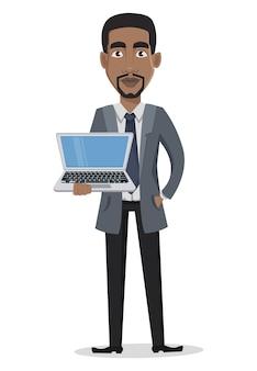 Personaggio dei cartoni animati di uomo d'affari afroamericano