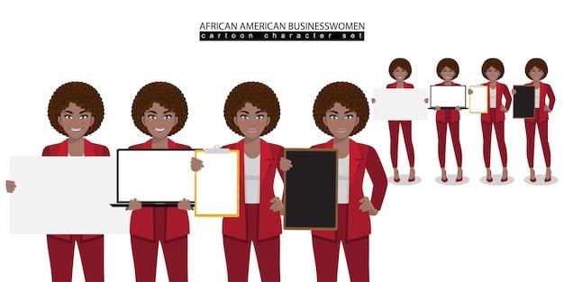 Personaggio dei cartoni animati afroamericano della donna di affari in diverse pose vettore