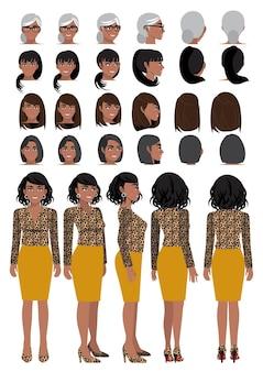 Personaggio dei cartoni animati di donna d'affari afroamericano in camicia con stampa leopardo