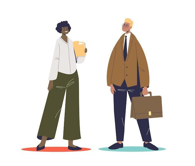 Parlando di persone di affari afroamericane. uomo d'affari del fumetto e donna di affari che comunicano. personaggi maschili e femminili che parlano in piedi.