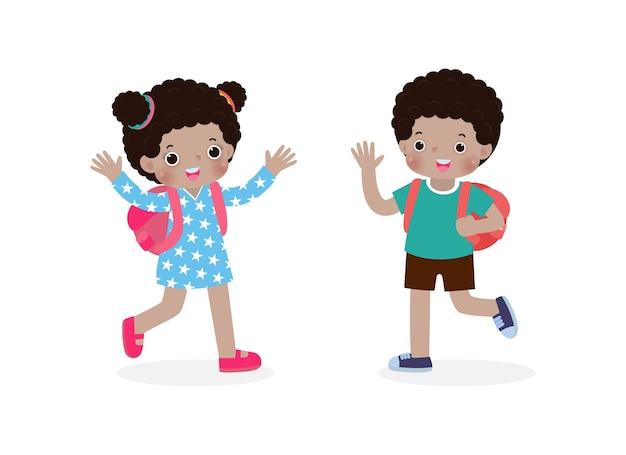 Bambini afroamericani con lo zaino che salutano i personaggi dei cartoni animati dei compagni di scuola