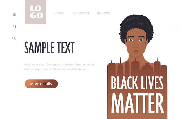 Uomo afroamericano contro la discriminazione razziale non riesco a respirare il concetto di materia di vite nere