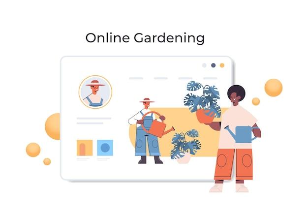 Giardiniere uomo afroamericano con watrering può versare piante mentre si guardano corsi virtuali in linea concetto di giardinaggio figura intera illustrazione orizzontale