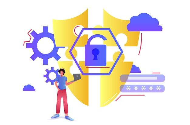 Uomo afroamericano utilizzando computer portatile protezione app scudo concetto di sicurezza della privacy dei dati illustrazione orizzontale