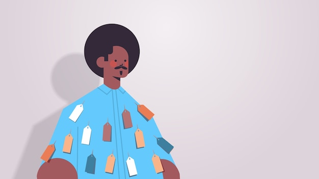 Uomo afroamericano con etichette colorate tag su indossare disuguaglianza discriminazione razziale concetto personaggio dei cartoni animati maschile