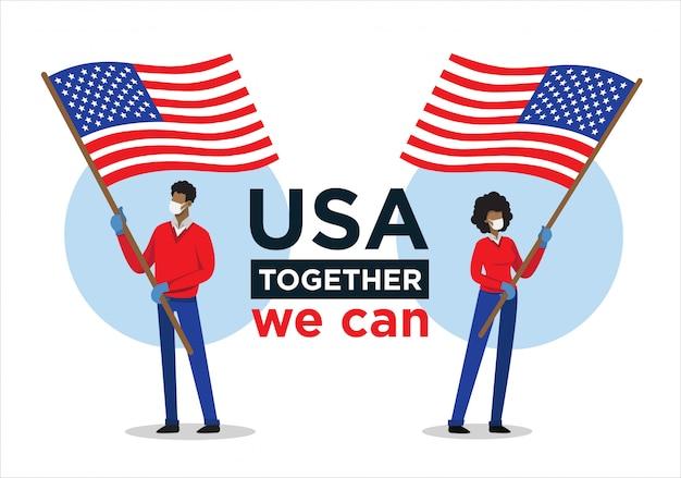 Uomo e donna afroamericani con la bandiera di usa che incoraggiano le persone contro il virus della corona
