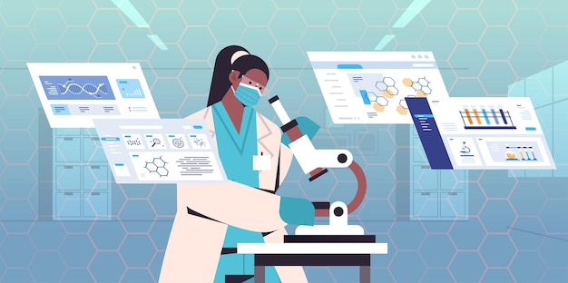 Scienziato afroamericano che cerca un ricercatore di microscopio che effettua ricerche di microbiologia in laboratorio test del dna diagnosi di ingegneria genetica