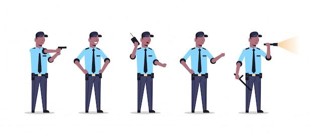 Gruppo della guardia giurata dell'afroamericano in uniforme