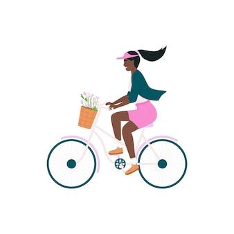 Donna afro-americana in carattere dettagliato colore piatto bicicletta