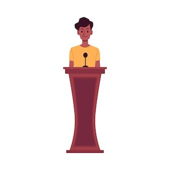 Personaggio dei cartoni animati della donna afroamericana - testimone testimonia in tribunale, illustrazione vettoriale piatta isolato su sfondo bianco. prove di crimine o innocenza durante il processo.