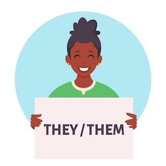 Donna afroamericana con cartello con pronomi di genere
