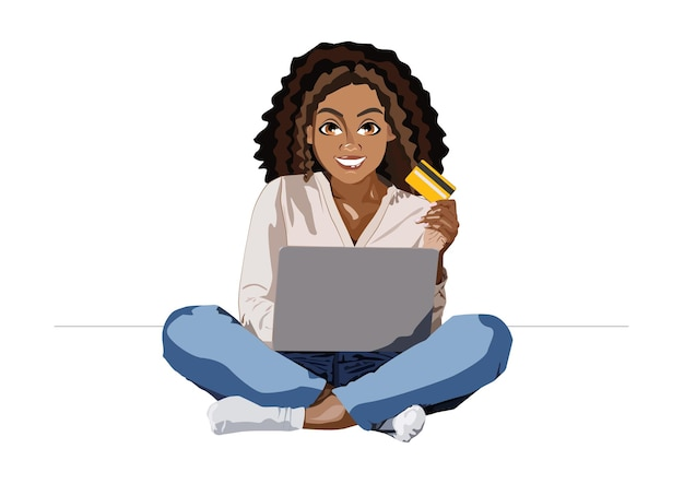 Donna afroamericana che sorride e tiene in mano una carta bancaria con un laptop mentre fa shopping online