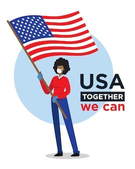 Donna afroamericana con la bandiera di usa che incoraggia la gente contro il virus della corona