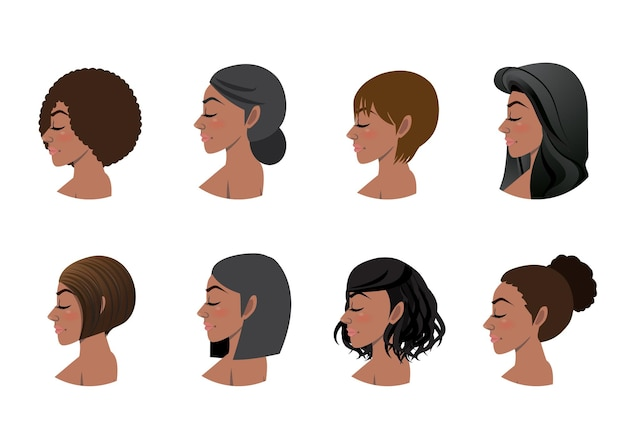 Accumulazione di stili di capelli delle donne afroamericane. set di avatar di vista laterale di donne nere