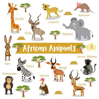 Cartone animato animale africano con nomi di animali