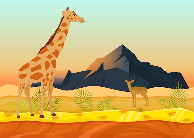 Cervi animali africani della giraffa, illustrazione piana di vettore di concetto naturale tropicale del paesaggio. posto bellissimo deserto, spazio di montagna di roccia.