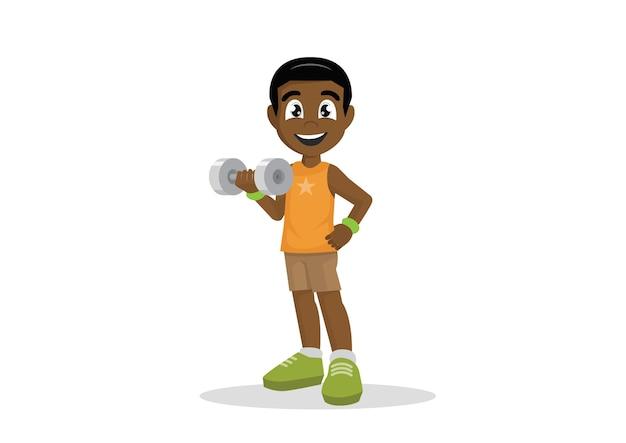 Ragazzo africano che si esercita con il dumbbell.